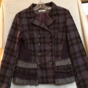 Purple/Gray Plaid Double-Breasted Jacket Size M
